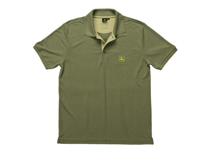 Grey Sensitive Skin John Deere Polo Shirt Black Khaki
