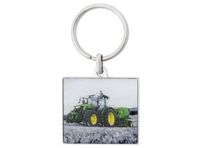 Porte-clés en métal avec photo d'un tracteur 5R