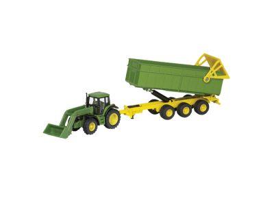 Tracteur John Deere avec chargeur frontal et remorque