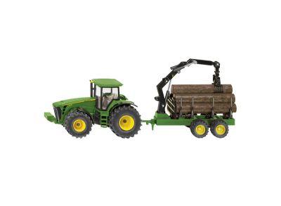 Tracteur JohnDeere 8430 avec remorque forestière