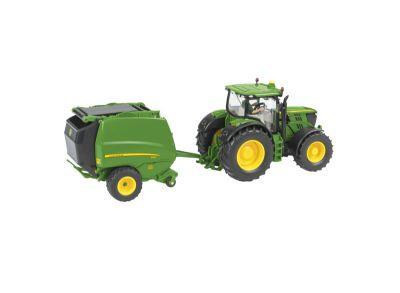 John Deere 6210R tractor with 990 Round Baler