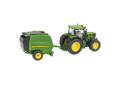 John Deere 6210R Traktor mit 990 Rundballenpresse