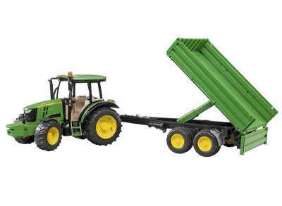 John Deere 5115M tractor met kantelbare aanhangwagen