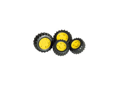 Dubbele wielen met gele velgen