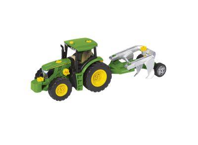 Byggsats, traktor med olika vagnar och plog