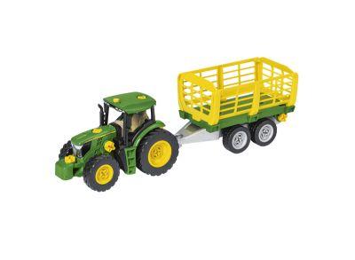 Juego de montaje de tractor con carro de heno y remolque de troncos