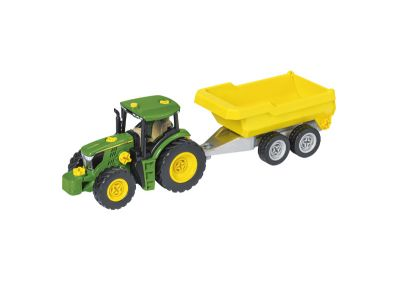 Byggsats, traktor med vagn och plog