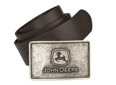 Leather Belt with Engraved Buckle