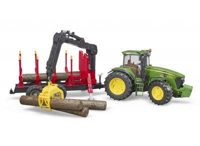 John Deere 7930 traktor med timmervagn och stockar
