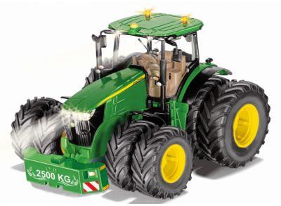John Deere 7290R traktor med dubbelmontage och Bluetooth app-kontroll