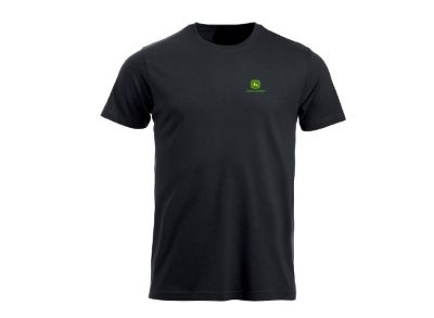 Black T-shirt `John Deere` with logo on front and back