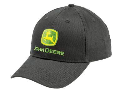 Musta John Deere -tavaramerkillä varustettu lippalakki