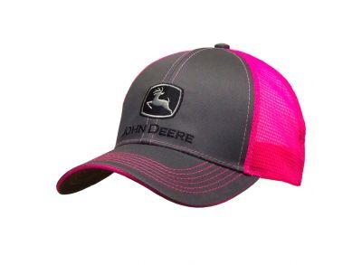 Boné John Deere marca comercial, com rede atrás